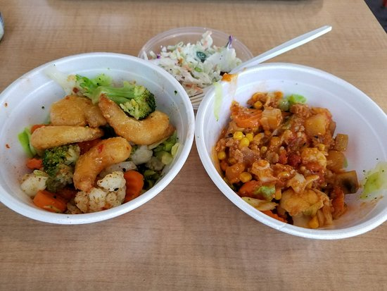 Covina, كاليفورنيا: Sorry we ate some before the pictures. On left Sweet Chili Shrimp, on right Lobster Stew.