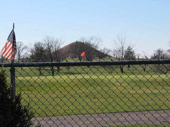 Miamisburg Mound: As seen from our backyard (beyond the golf course).