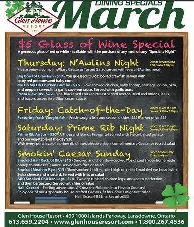 Lansdowne, Kanada: Our special march 2018 event menu!