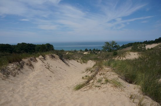 Warren Dunes State Park: Lake Michigan from atop the dunes (about a mile up the beach from the swimming area)