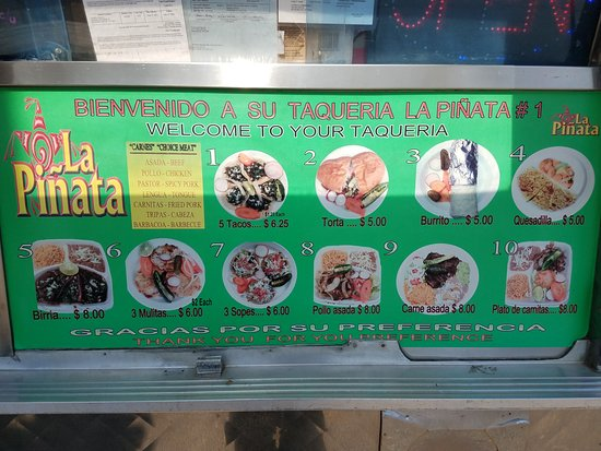 La Pinata Food Truck Menu An Assortment Of Meats To Choose From For