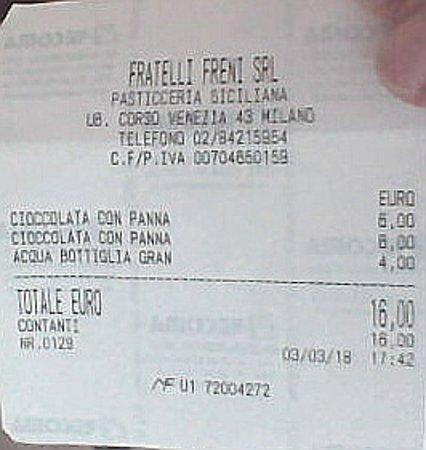 F.lli Freni Pasticceria Siciliana: Cioccolata troppo dolce, scontrino troppo amaro!