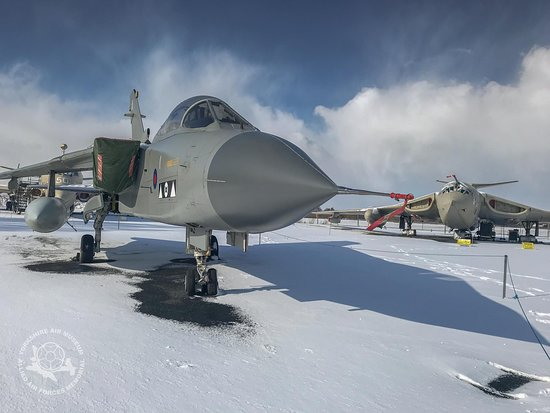 Yorkshire Air Museum : Winter at the Museum, Cols War Jets in the snow.