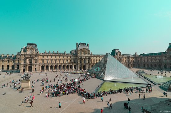 Paris, France: The Louvre Pyramid (Pyramide du Louvre)