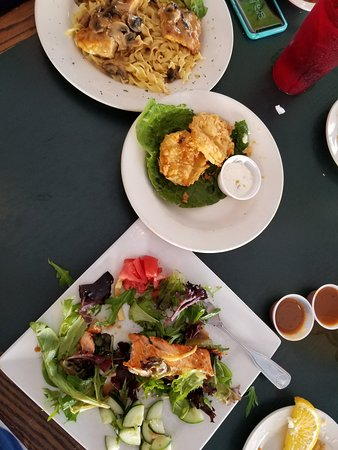P J's Cafe: Salmon salad, fried green tomatoes,chicken marsala