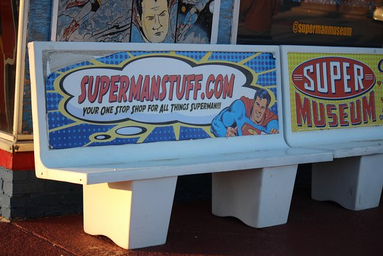Metropolis, IL: Bench in front of the store/museum