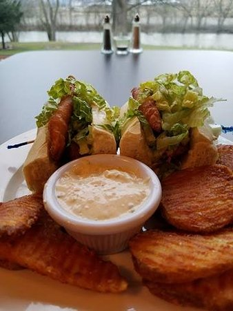 Alexandria, PA: beer battered haddock sandwich with buffalo chips and bleu cheese dressing