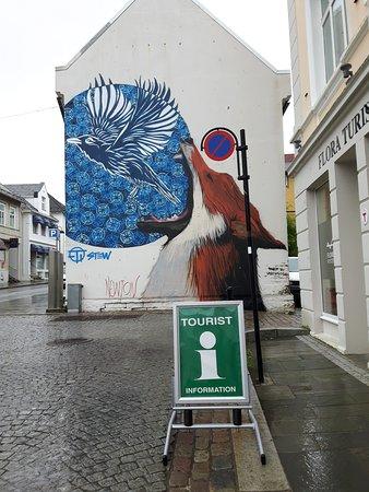 Floro, Norge: Street art close to FjordKysten Tourist Information