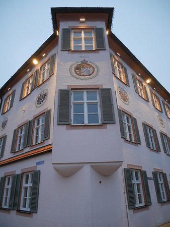 Erding, Germany: Coats of arms above the second floos windows.