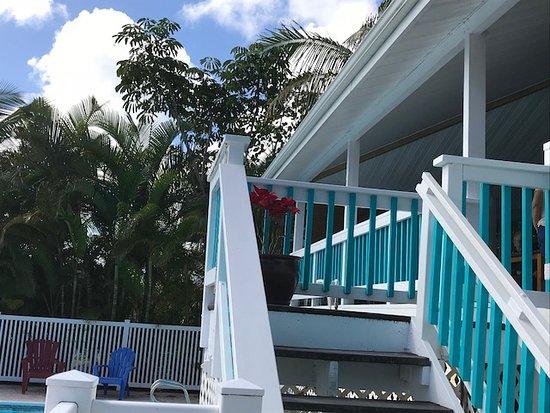 Keaau, Hawái: Front stairs from pool