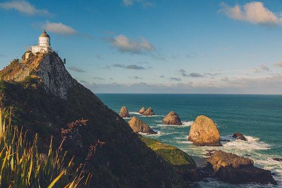 Balclutha, New Zealand: Nuggets im Wasser, Leuchtturm am Strand