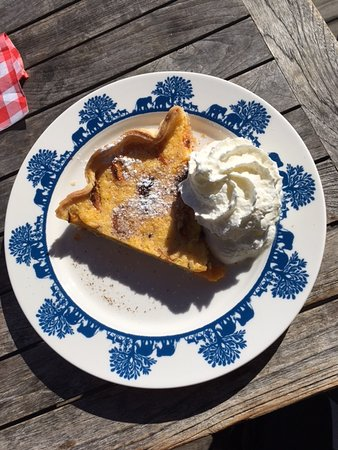 Belalp, Sveits: Homemade apricot pie on a Heidi goes Safari plate.