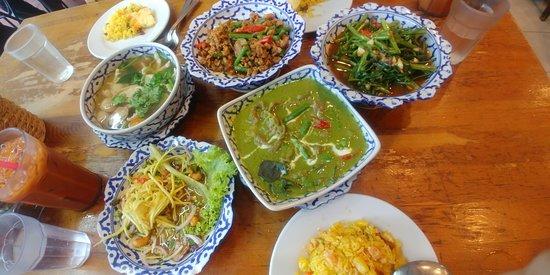 Nakhon Kitchen: Mango Salad, Beef Green Curry, Sambal Kangkong, Pork in Basil, Tom Yum Soup, Pineapple Rice.
