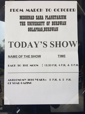 Bardhaman District, Índia: Show timings and details