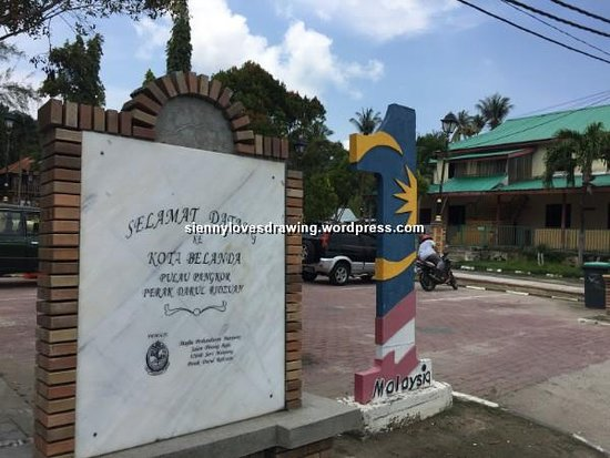 Pulau Pangkor, Malezya: The signboard to Dutch Fort at entrance