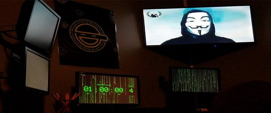 "Carrollton, GA: A photo of the hacker's terminal in our, ""The Hacker's Lair"" escape room."