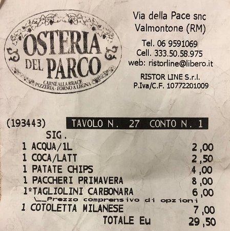 """Osteria del Parco: """"Scontrino"""""""