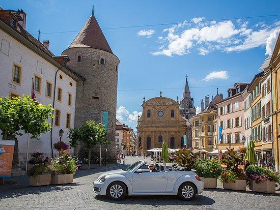 Vaud, Suisse : Grand Tour of Switzerland devant la place Pestalozzi à Yverdon-les-Bains Photo: Vincent Bail