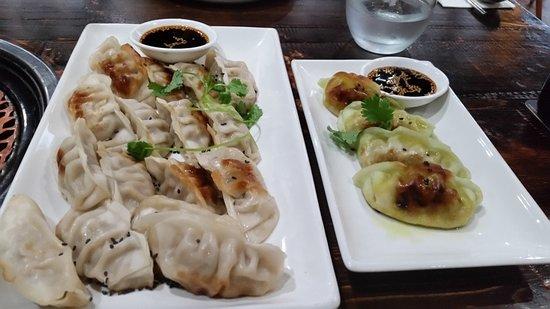 Pork Dumplings left and Vegetarian right.