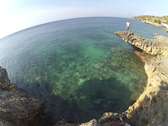 Desa Sekotong Barat, إندونيسيا: Up on the hill of Pink beach. The water is very clear!!