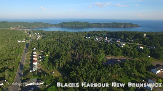 Blacks Harbour, Canada: Deadman's Harbour road and French Village with Doone head facing south