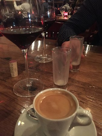 Ellicott City, MD: Malbec and Coffee with empty Limoncello glasses (because we couldn't wait)