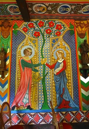 Capela Magdalena: Um dos afrescos na parte interna.