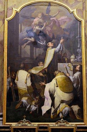 La Collegiata dei SS. Gervasio e Protasio : Adorazione di San Gregorio-Tela di P.Ligari