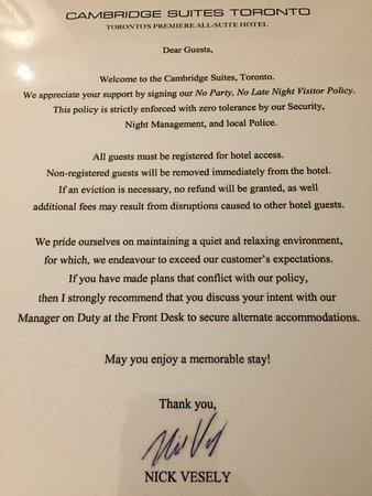 "Cambridge Suites Toronto: New ""security"" warning"