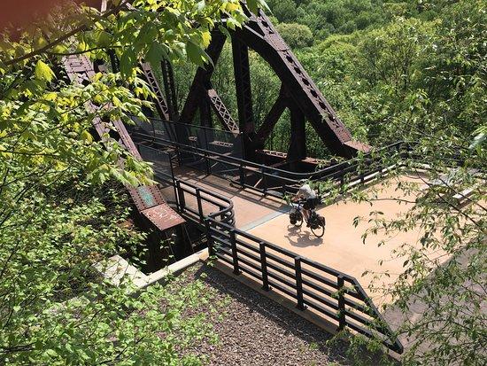 Cumberland, MD: Cyclist on the Keystone Viaduct over Flaugherty Creek, near Mayersdale, Pa.