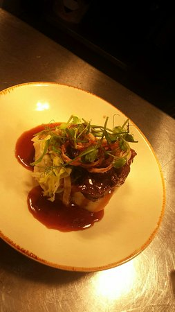The Magpie: Beef cheeks served with fresh mash hispi cabbage crispy shallots and finished with an amazing re