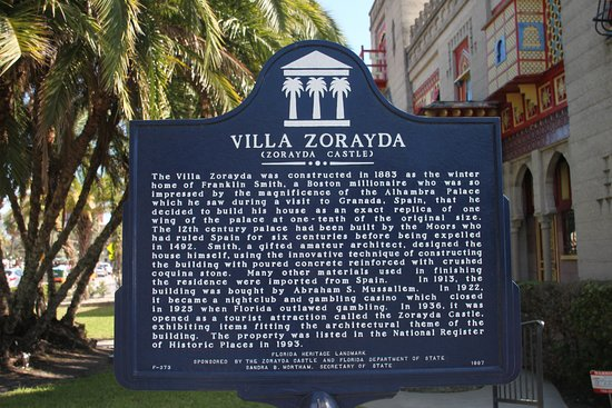 Villa Zorayda Museum: Sign Placed by the Florida Department of State