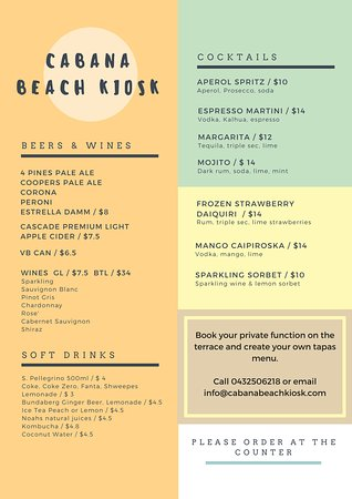 Narrabeen, Australia: drinks menu