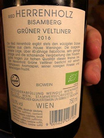 Stammersdorf, Austria: Grüner Veltliner Ried Herrenholz Bisamberg: hervorragendes PLV (back)