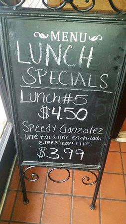 Anderson, SC: Great daily specials.
