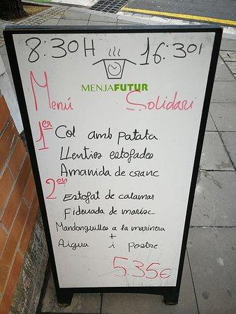 Sant Andreu de la Barca, Espanha: Menú solidari per 5,35€ (els plats varien en funció del dia)