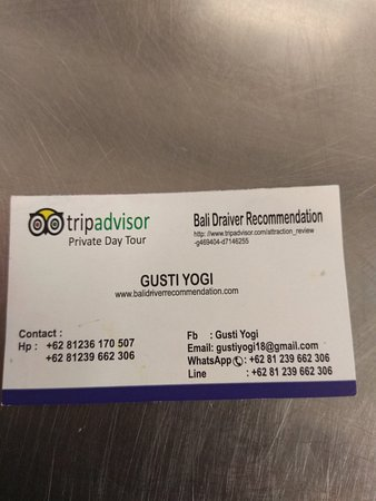 Official Business Card Picture Of Bali Driver Recommendation