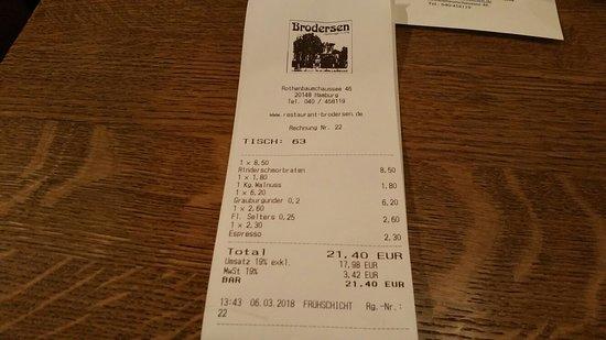 Brodersen Restaurant Hamburger Kuche: Brodersen Restaurant Hamburger Küche
