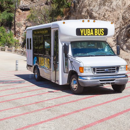 Nevada City, CA: Yuba Bus loading zone at 49 Crossing Bridge. South Yuba River State Park