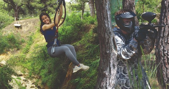 Parque Aventura : Pack Arborismo + Paintball disponível | Pack High Ropes Courses + Paintball available