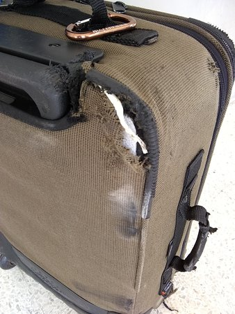 Turneffe Island, Belize: suitcase ruined on the boat from BCR to Belize City, 24 Feb 2018