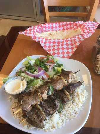 Vestal, NY: Beef kabob with rice pilaf, salad and pita
