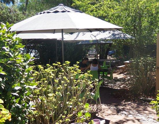 Peko Peko: Shaded garden tables