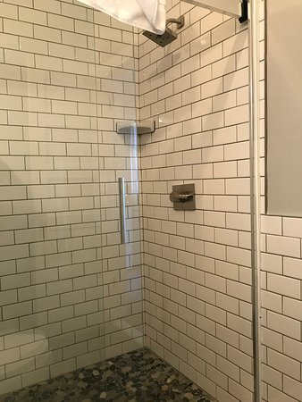 Outer Cabin Gl Walk In Shower And River Rock Tile
