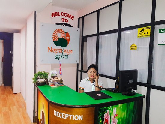 Kathmandutal, Nepal: The front desk office of Nepalaya Spa