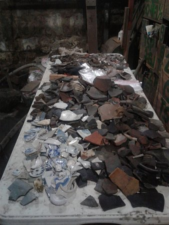 1730 Jesuit House : Archeological shards emerging from an on-going excavation