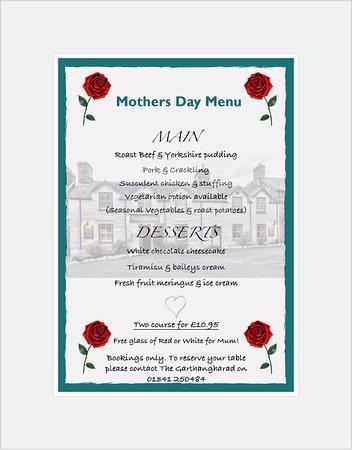 Llwyngwril, UK: Mothers Day Menu