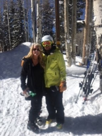 Beaver, UT: A photo of my son and I after a beautiful day of skiing. What beautiful runs they have. Loved it