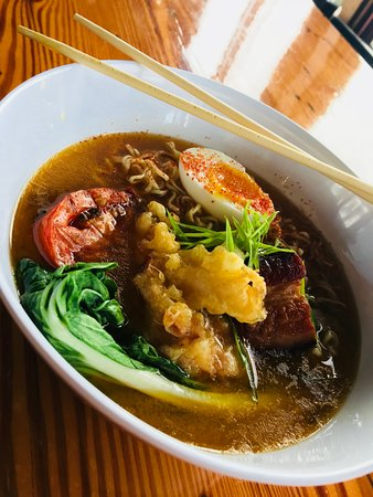 Bourne, MA: Spicy ramen bowl with tempura lobster