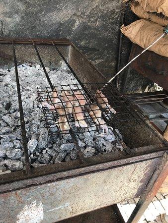 Cafe Vapor: Coin grillade devant le restaurant